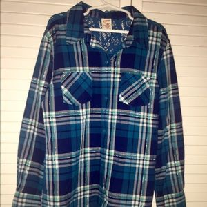 Girls Arizona Plaid Shirt Lace Cutout 10/12
